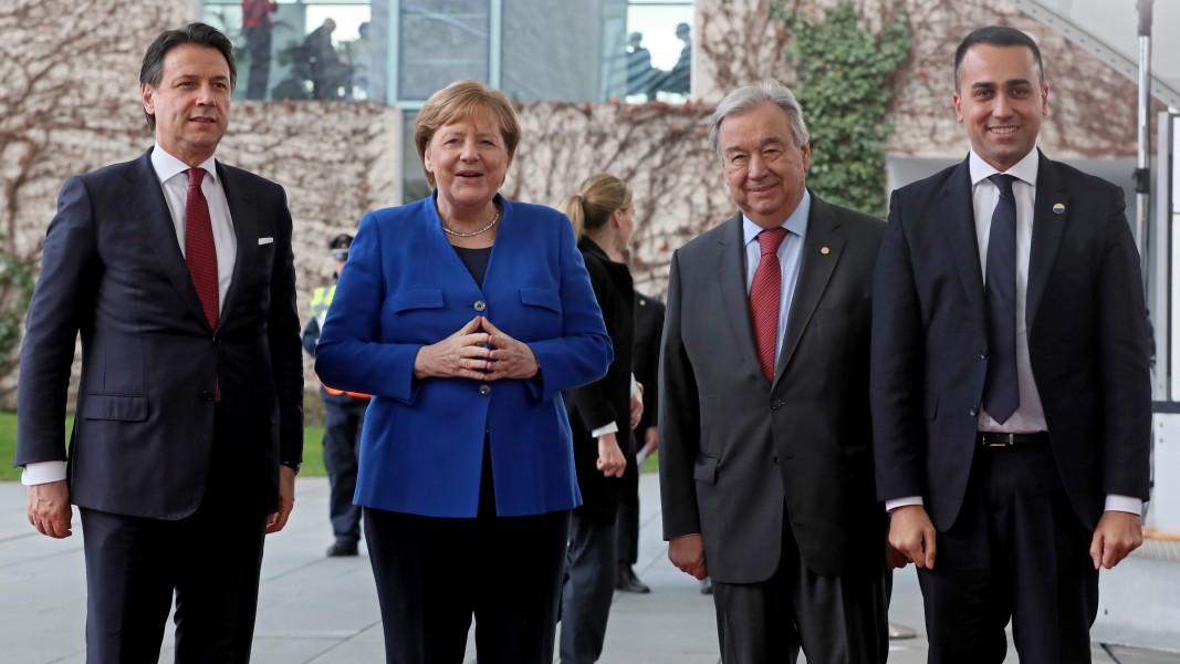 Италианският премиер Джузепе Конте, Ангела Меркел, Луиджи Ди Майо и Антонио Гутиериш