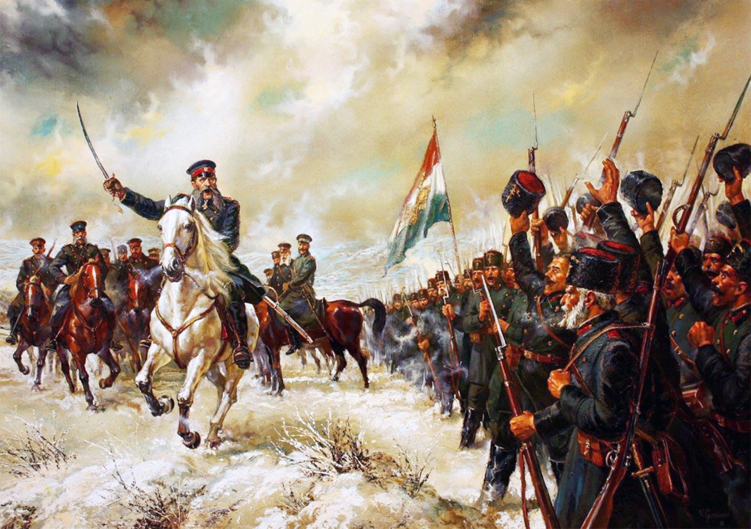 General Gurko greets the Bulgarian volunteers (opalchentzi), oil painting, canvas, painted by Vasil Goranov, 2013