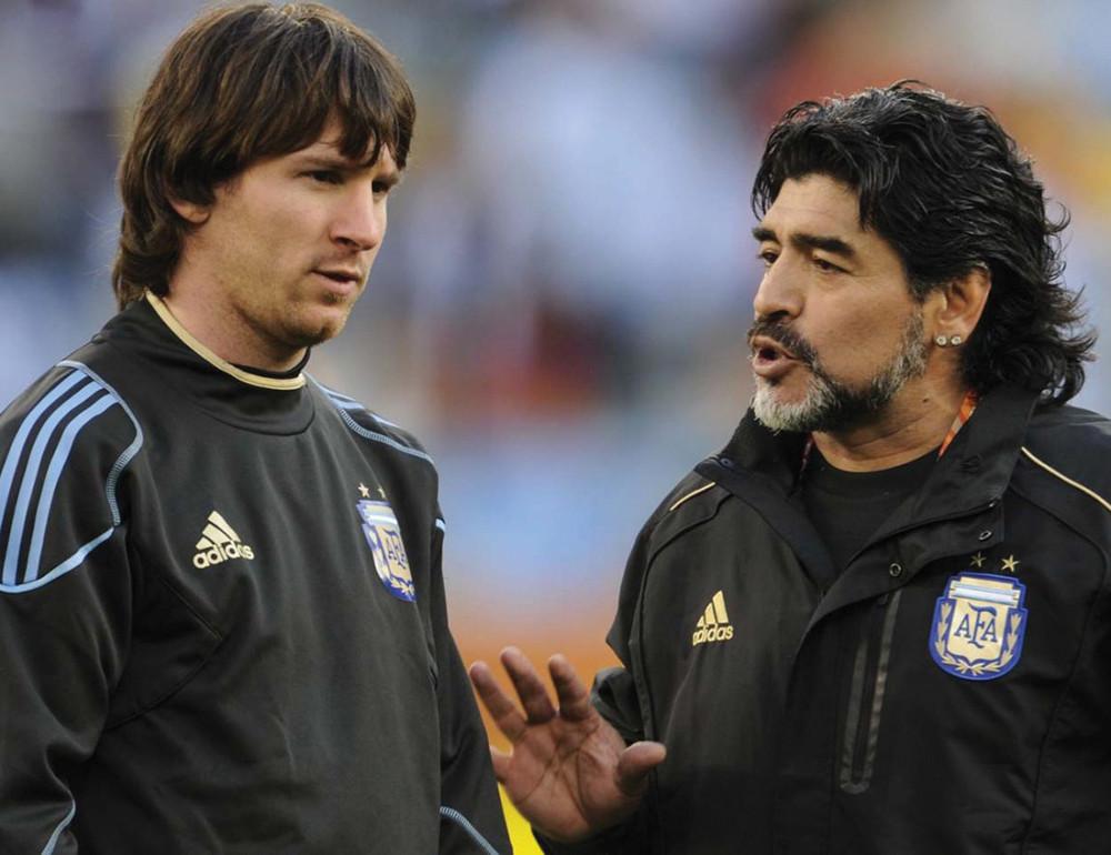 Меси и Марадона в националния отбор на Аржентина.