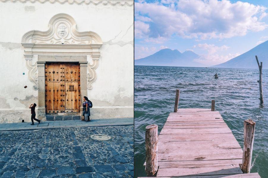 Антигуа, Гватемала (вляво) и езерото Атитлан, Гватемала (вдясно)