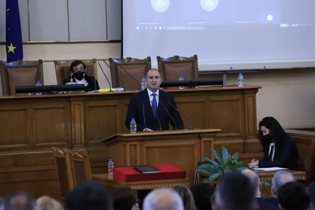 President Rumen Radev addressing the National Assembly