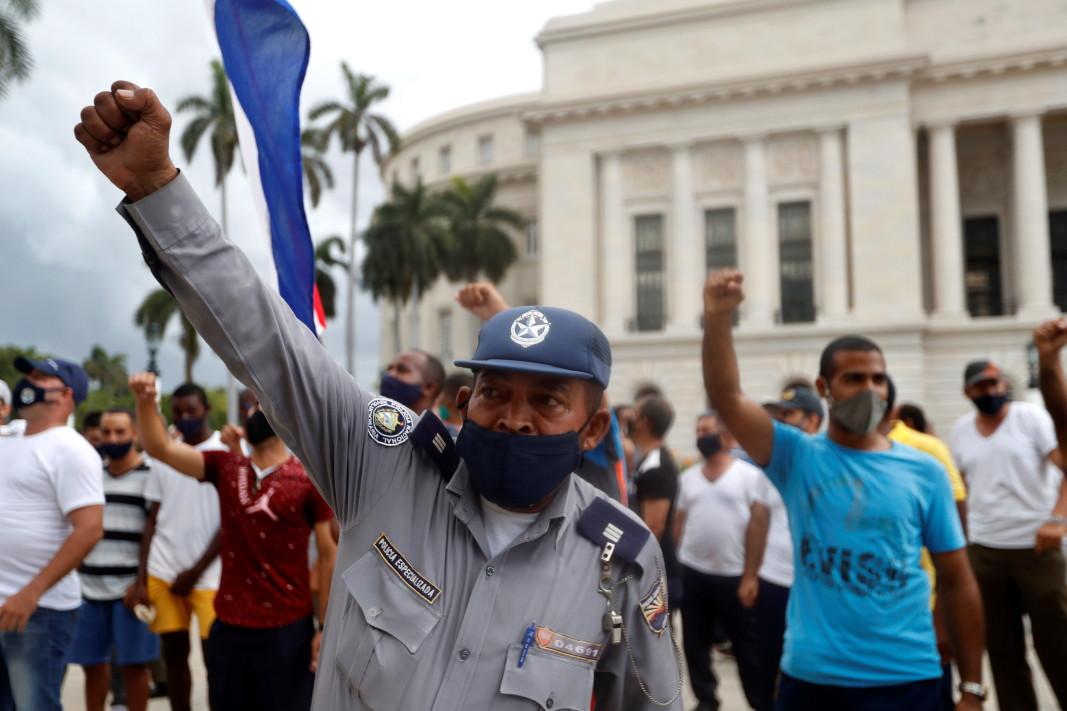 Акция в подкрепа на властта в Хавана, 12 юли 2021 г.    Снимка: Ройтерс