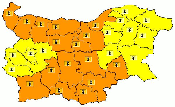 Карта на опасните явления за 31.07.2021 г./НИМХ