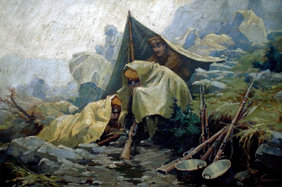 """""""Shi në front"""" – 1916, piktor Dimitër Gjuxhenov"""
