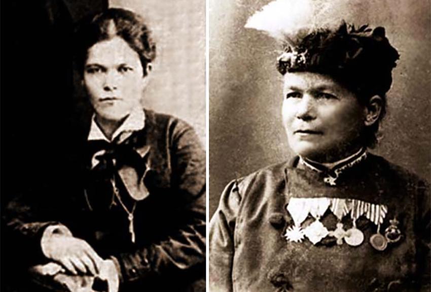 Христина Хранова во время своего студенчества в Киеве (слева) и как герой Сербско-болгарской и Балканских войн с военными наградами