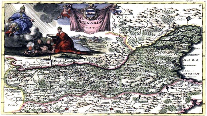 Mapa del Reino de Bulgaria por Johann van der Bruggen, 1737