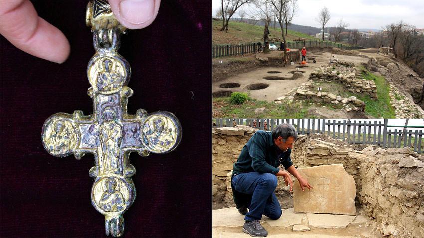 Уникалният златен кръст от Трапезица. Снимки: БТА