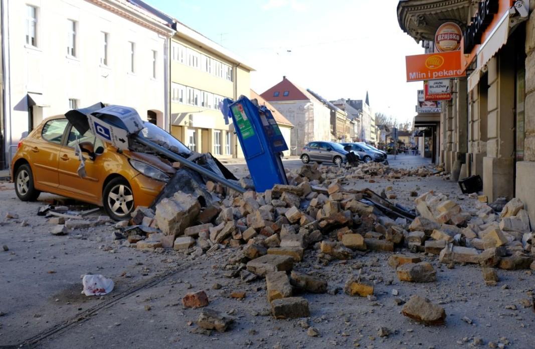 Разрушения в град Сисак, Хърватия след силно земетресение на 29.12.2020 г.