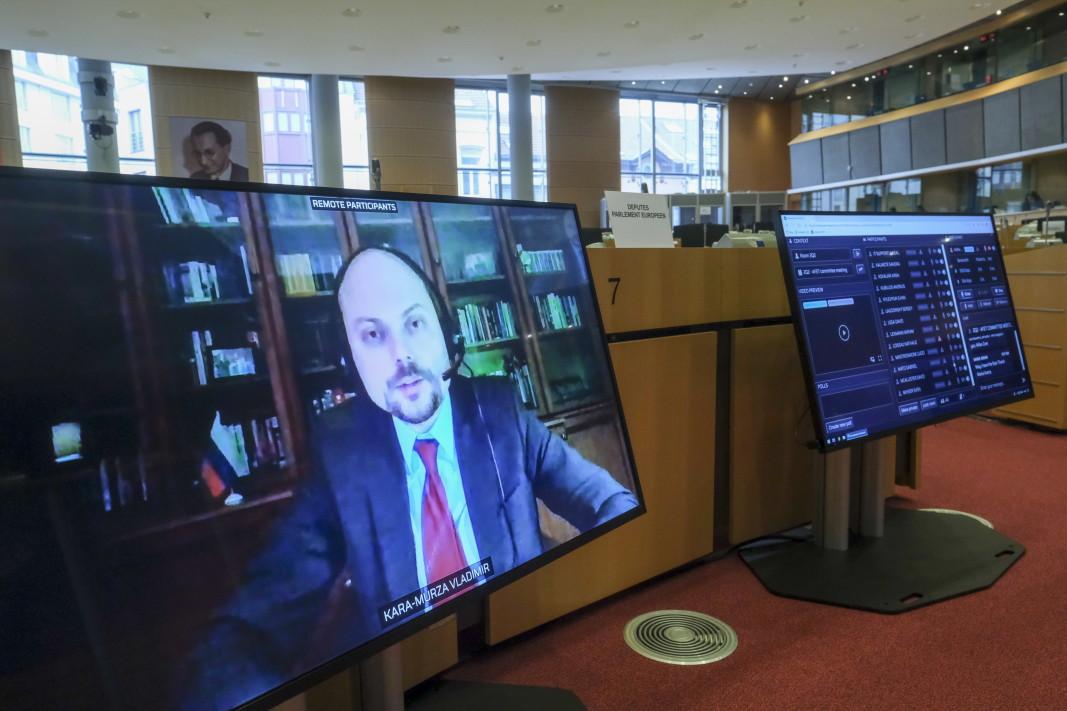 Владимир Кара-Мурза, председател на фондация Борис Немцов и вицепрезидент на фондация Свободна Русия, участва във видео изслушването на Комисията по външни работи на Европейския парламент.