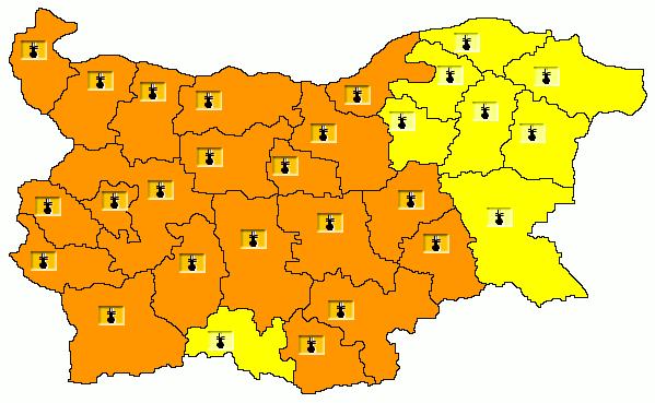 Карта на опасните явления за 01.08.2021 г./НИМХ