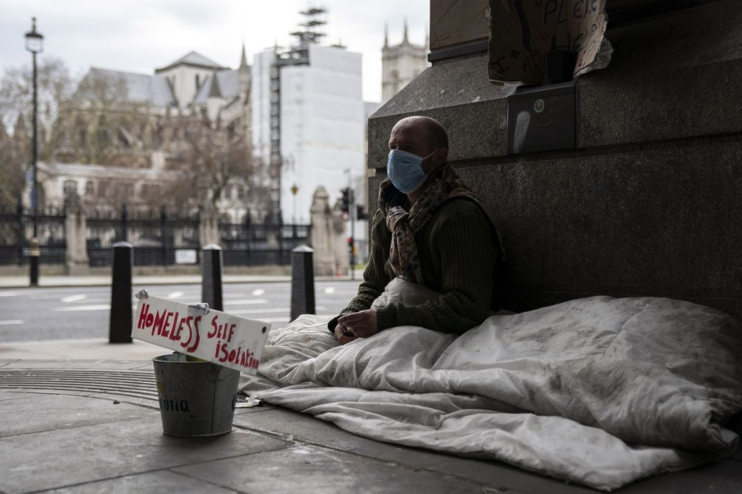 Бездомен мъж в Лондон