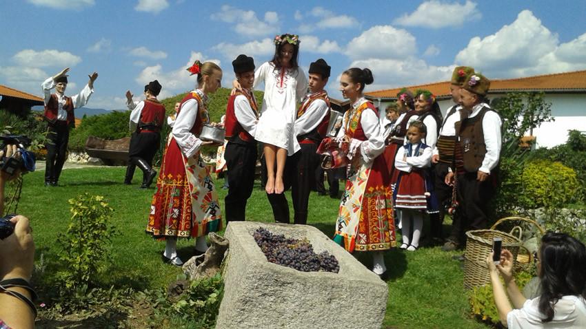 """По традиция Царицата на гроздето и виното, Бояна Ацева, трябва изпълни """"ритуала мачкане на гроздето"""". Снимка: Петра Талева"""