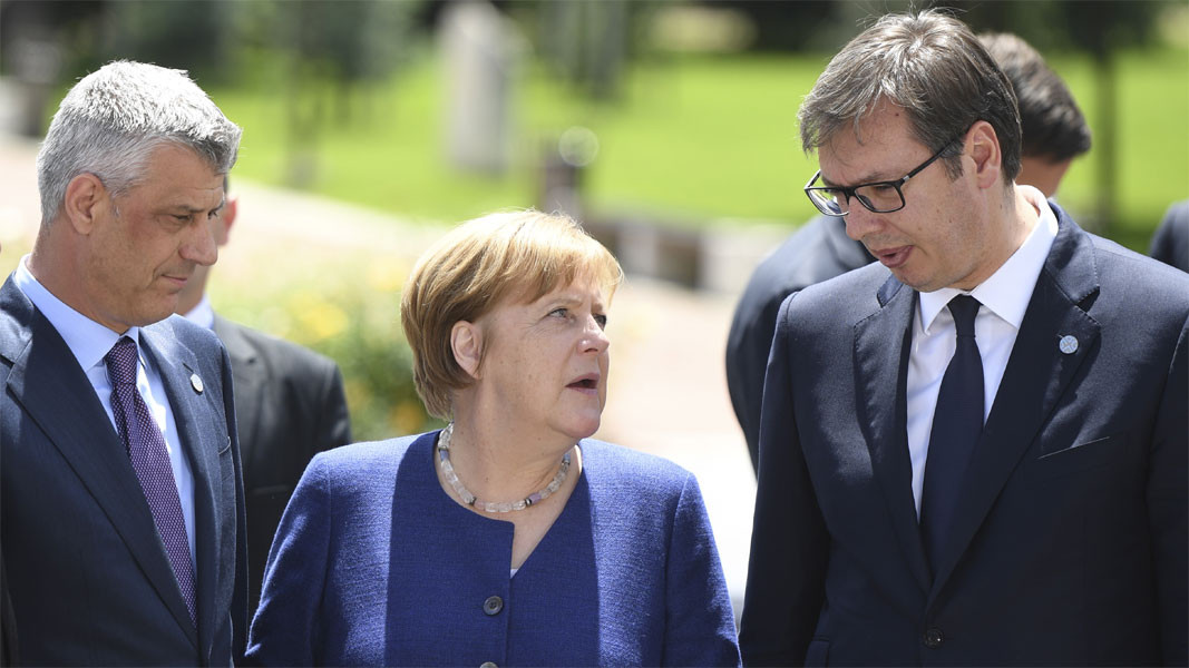 Hashim Thaci, Angela Merkel and Aleksandar Vucic during the EU-West Balkans summit last May in Sofia  /  Photo: BGNES