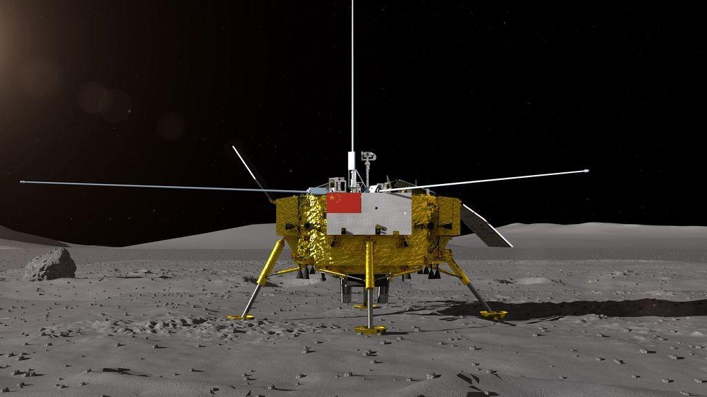"""Илюстрация на китайската космическа сонда """"Чанъе-4"""", кацнала на Луната. Снимка: ЕПА/БГНЕС"""