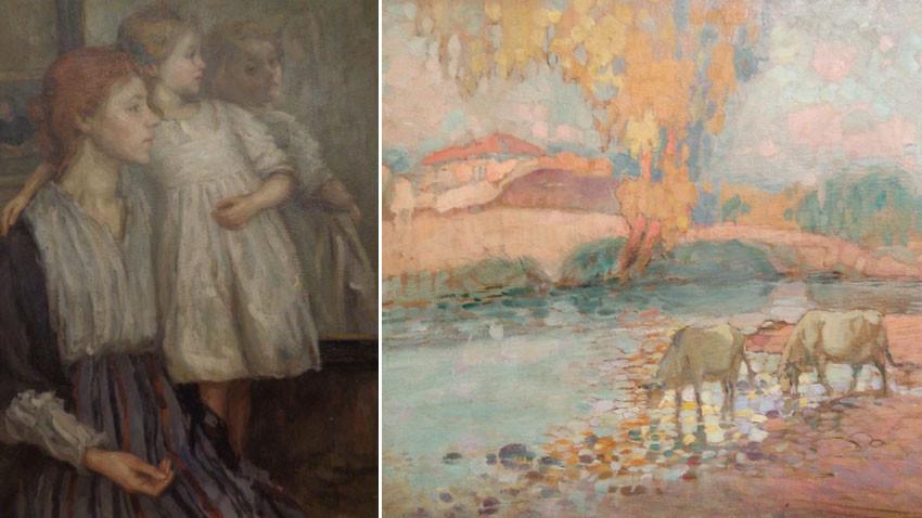 Ελένα Καραμιχάηλοβα (1875 – 1961), «Μπροστά στον καθρέφτη», 1912, και Νικόλα Πετρόφ. «Για πότισμα»