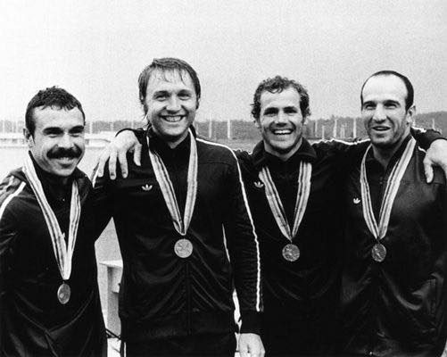 Ivan Manev (first from the right) with the rest of his rowing team at Moscow Olympics, 1980