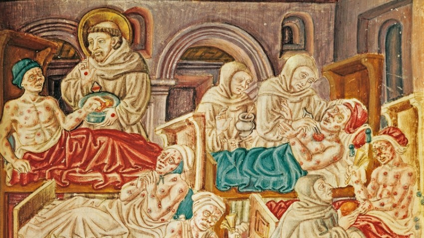 Una pintura del siglo XV que refleja cómo se trataba a las víctimas de la plaga