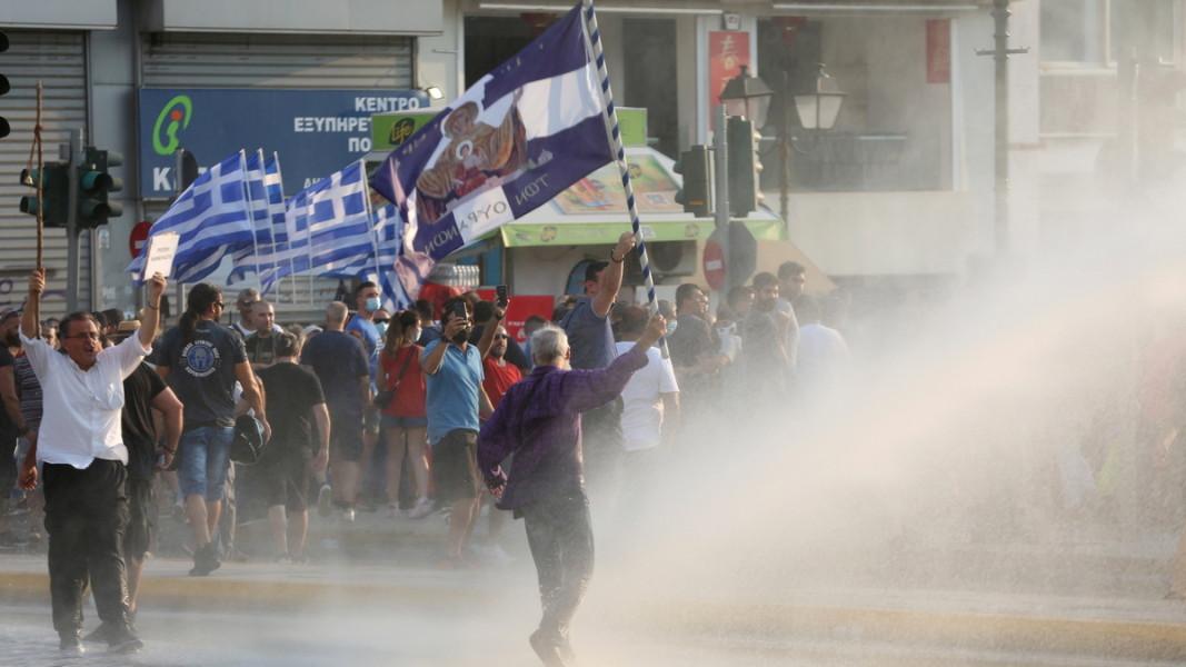 Протест срещу ваксинацията в Атина, 21 юли/ЕПА/БГНЕС