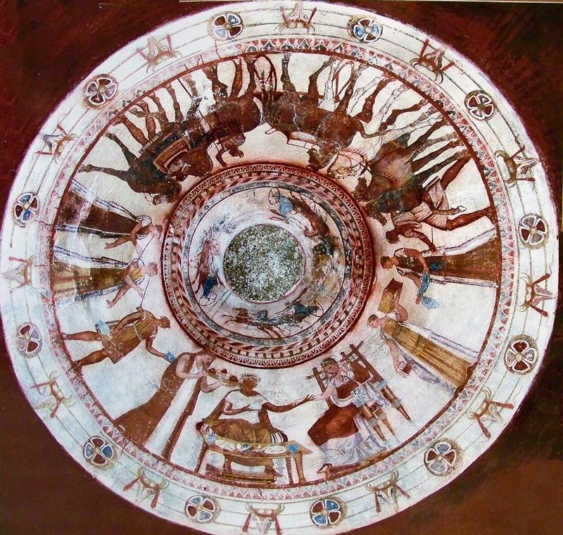 Стенописи от куполното помещение в гробницата