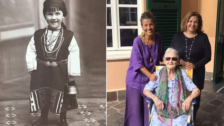 Nadezhda Bliznakoff as a child in Stara Zagora, dressed in Thracian traditional costume(left). Milena Kaneva and Irina Dilkova with Nadezhda Bliznakoff today.
