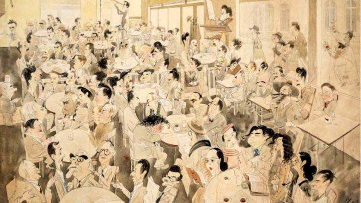 Шаржовата рисунка от 1935 г. на 106 видни български поети, писатели, критици, певци, артисти, художници, архитекти, индустриалци, политици в някогашното кафене
