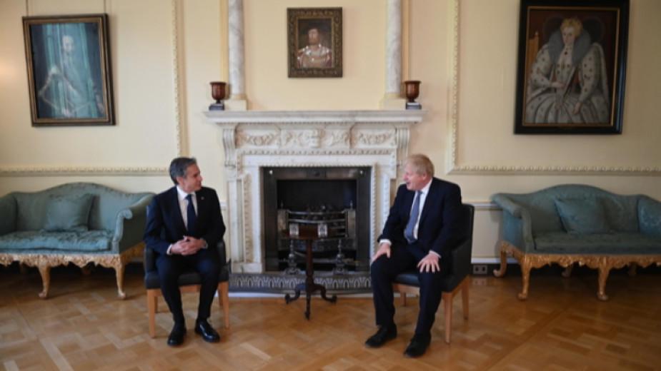 Британският премиер Борис Джонсън и американският държавен секретар Антъни Блинкън