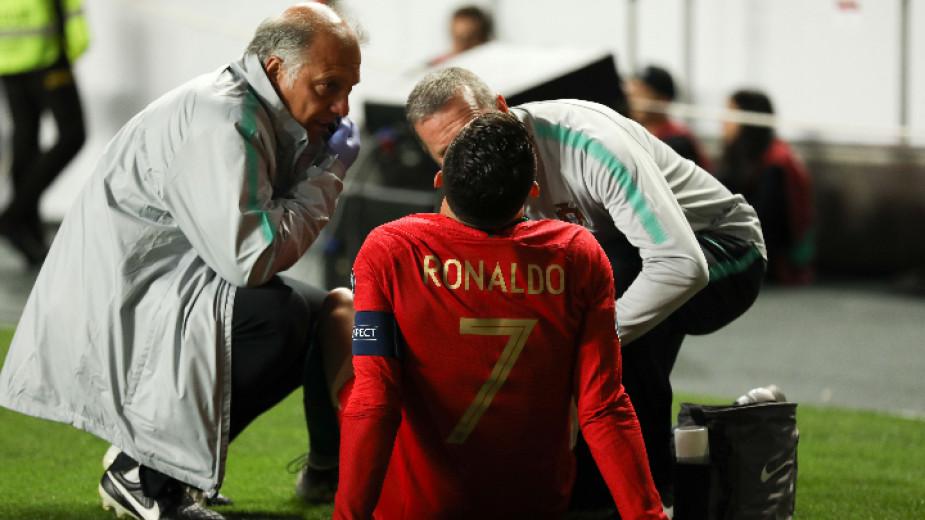 Роналдо се контузи при ново равенство на Португалия