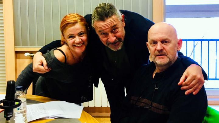 Актьорите Добриела Попова, Веселин Мезеклиев и Валентин Ганев по време на запис.