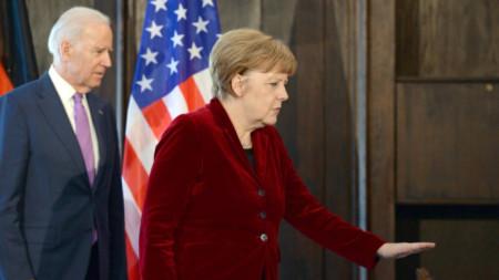 Джо Байдън и Ангела Меркел