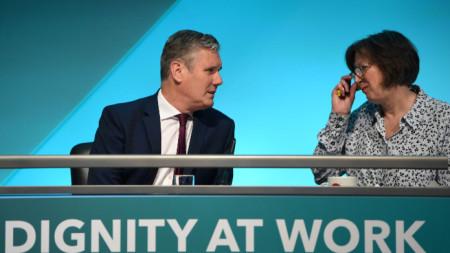 Лидерът на лейбъристите Киър Стармър и профсъюзната лидерка Франсис О`Грейди