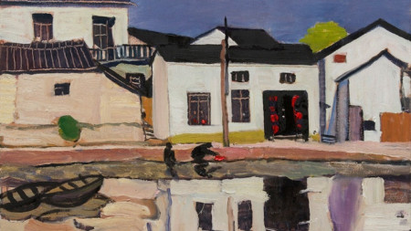 """Картина на Вихрони Попнеделев, част от изложбата """"Пейзажи от Китай"""""""