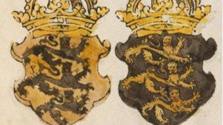 Гербове на последните български владетели Фружин и Константин II Асен