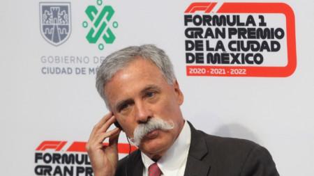Изпълнителният директор на Формула 1 Чейз Кери по време на пресконференцията в Мексико Сити.