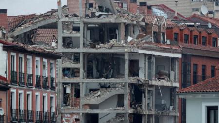 Сградата в Мадрид след експлозията, 20 януари 2021 г.