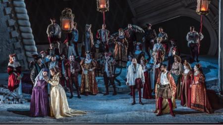 """Сцена от представлението на операта """"Наемният убиец"""" от Саверио Меркаданте на фестивала в Уексфорд"""