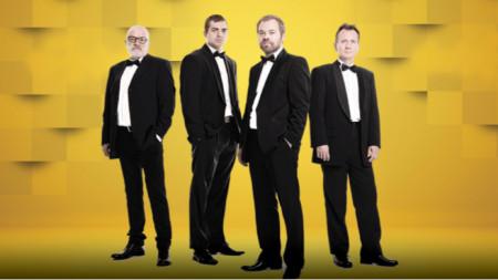 """Валентин Геров (първият вляво) с музикантите от """"София квартет"""""""