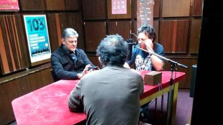 Теодосий Спасов (вляво) и Цветан Цветанов в предаването Eclectic Mansarda на Рамадан Теписи в Скопие