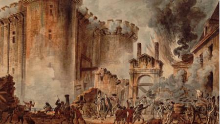 """""""Превземане на Бастилията, 14 юли 1789 г."""", картина от Жан-Пиер Уе"""
