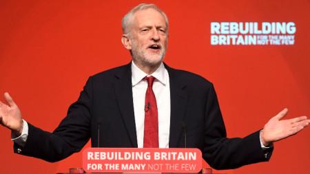 Джеръми Корбин на годишната конференция на лейбъристите в Ливърпул.