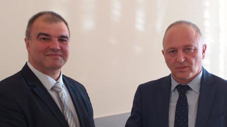 Красимир Конов (вляво) и апелативният прокурор Владимир Чавдаров.