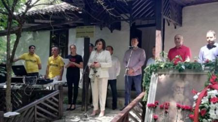Лидерът на БСП Корнелия Нинова говори на честването в къщата-музей на Димитър Благоев в Банкя.