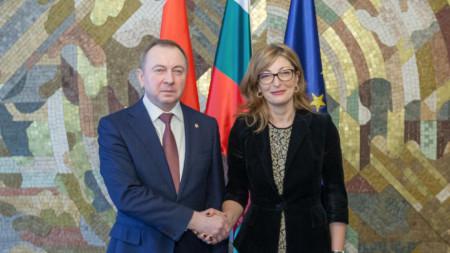Външният министър Екатерина Захариева и беларуският ѝ колега Владимир Макей в София.