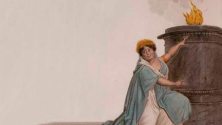 """Каролайн Бранчу в ролята на Юлия в операта """"Весталката"""", плакат за премиерата на 15 декември 1807 г."""