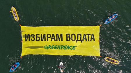 """Акция на aктивисти на """"Грийнпийс"""" – България в Източномаришкия речен басейн, 7 юли 2021 г."""