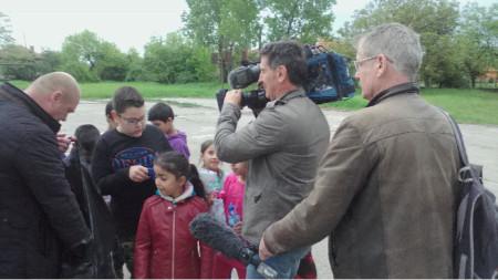 Ерве Дино и Дени Босампиер по време на снимки