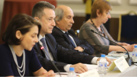 Participants in the discussion dedicated to the 30th anniversary of the new Bulgarian constitution, among them caretaker Justice Minister Yanaki Stoilov (second from the left)