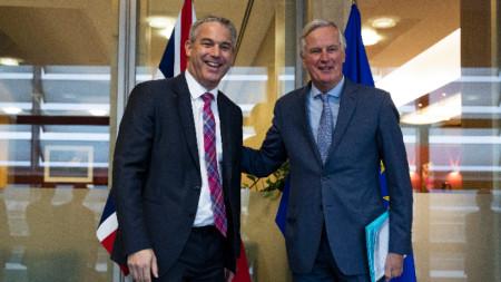 Поредна среща на Брекзит преговарящите Стивън Баркли и Мишел Барние в Брюксел