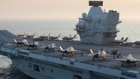 Бойни самолети на борда на HMS Queen Elizabeth, септември 2020 г.