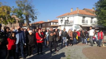 Протест на несебърлии преди задържането на кмета Николай Димитров, архив