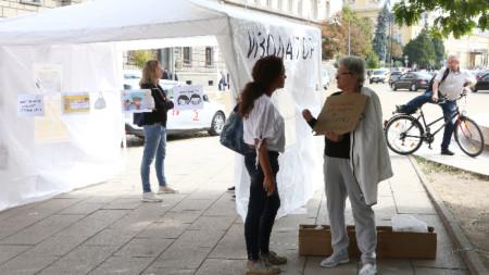 Протест за правото на избор за ползване на маски в училищата се провежда в София.